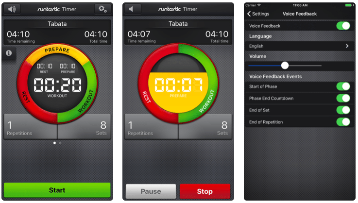 Runtastic Timer App